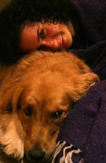 Cuddly golden retriever