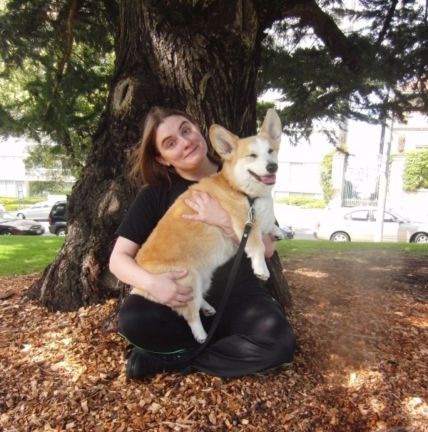 Autumn Rhodes of the San Francisco Pup Scouts Dog Walkers and Tidus the Pembroke Welsh Corgi