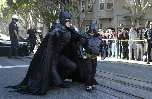 Batkid and Batman on Russian Hill