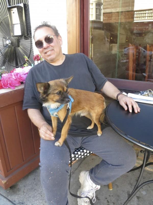 Man with Chihuahua/Pomeranian Mix