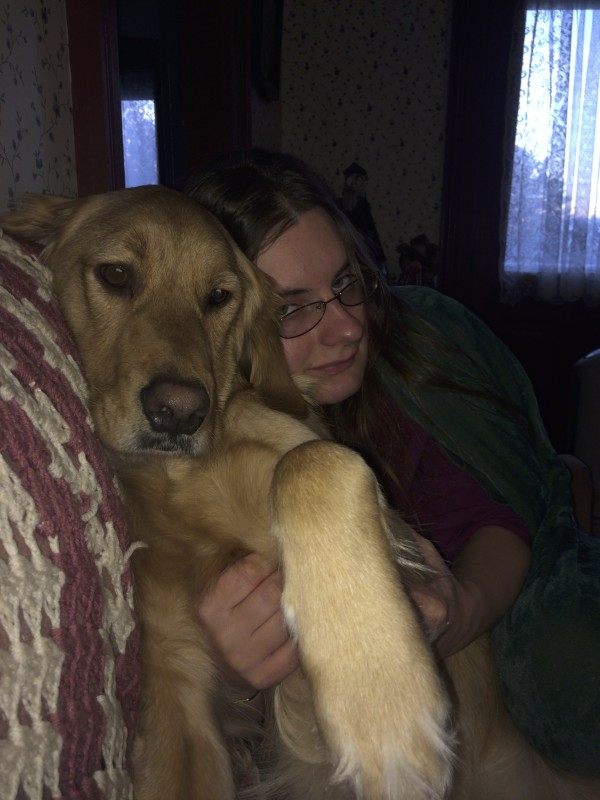 Golden Retriever and Woman in Goofy Pose