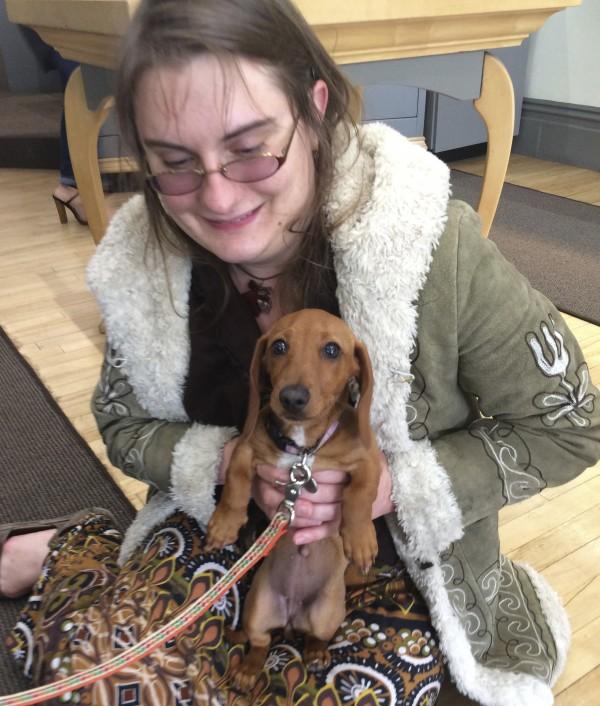Woman Holding Miniature Dachshund Puppy