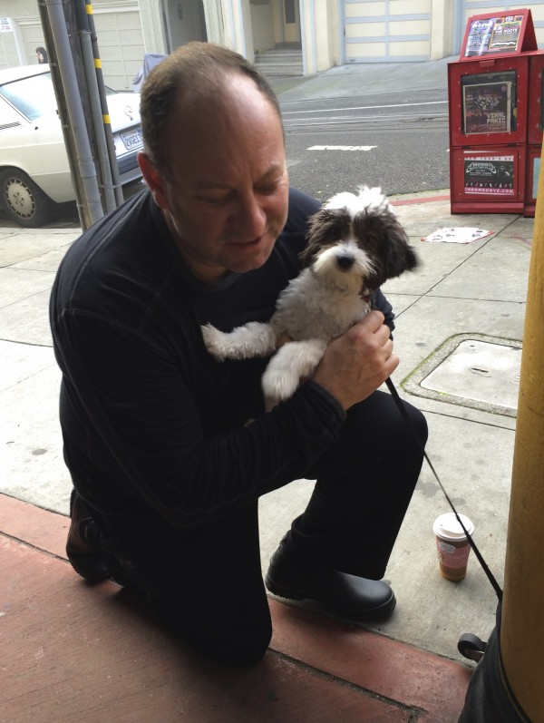 Man Hugging Black And White Maltese Poodle Mix Puppy