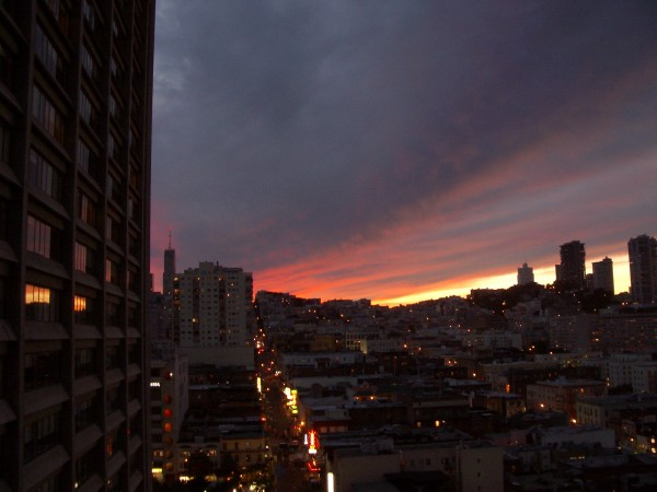 Sunset From Financial District, San Francisco