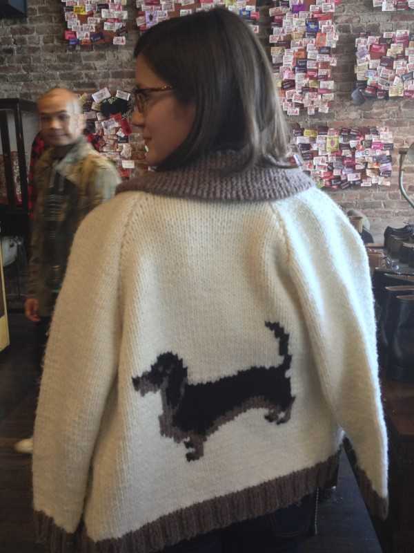 Woman Wearing Dachshund Sweater