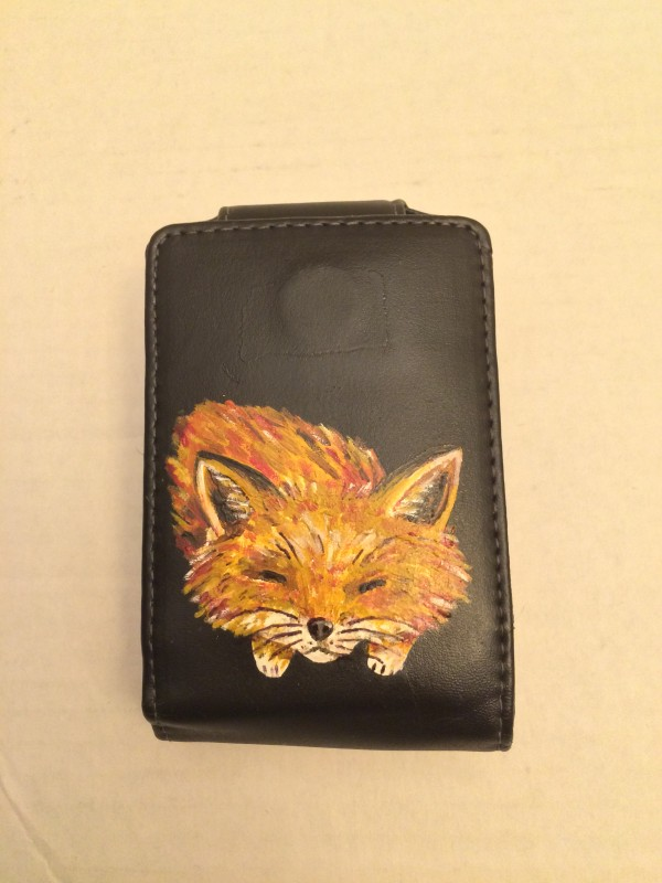 Phone Holster With Hand-Painted Cute Little Sleeping Fox
