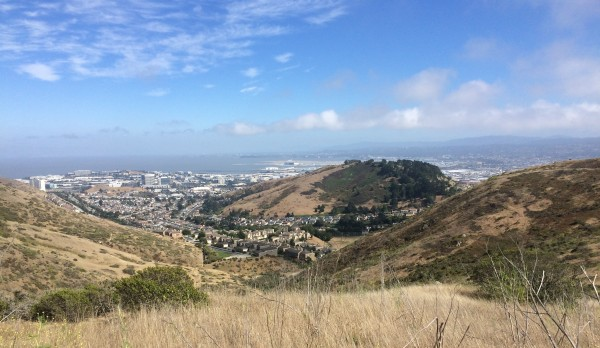 A view of South San Francisco, plus Sign Hill, as seen from San Bruno Mountain State Park.