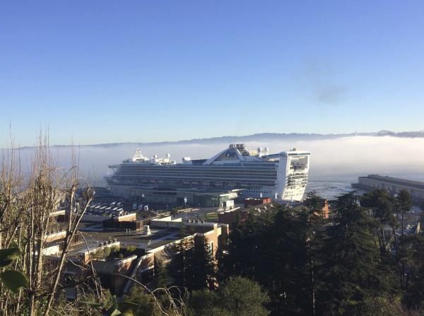 Humongous Cruise Ship Docked In San Francisco Bay