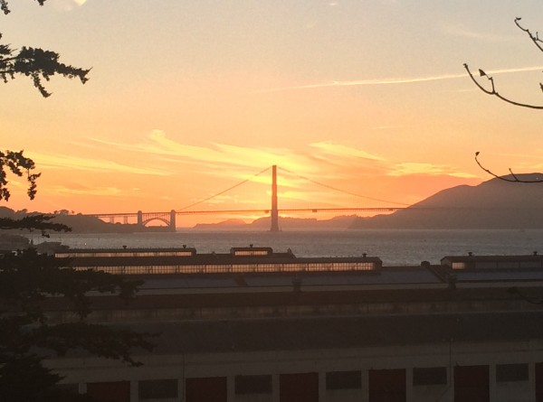 Sunset Behind Golden Gate Bridge, Taken From Above Fort Mason