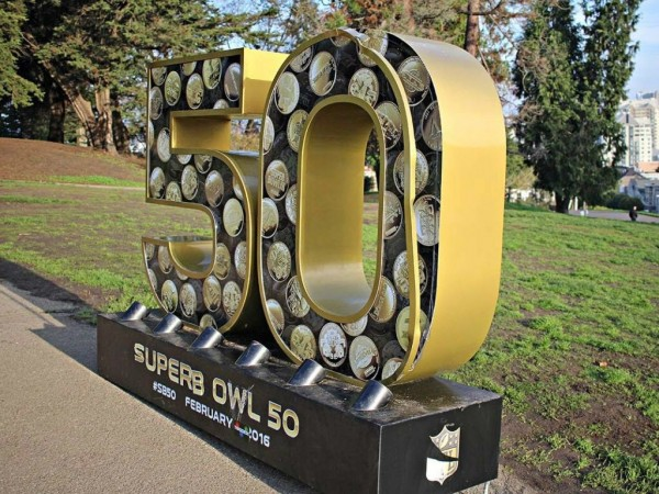 Big Defaced Superbowl 50 Sign That Says Superb Owl 50 Now