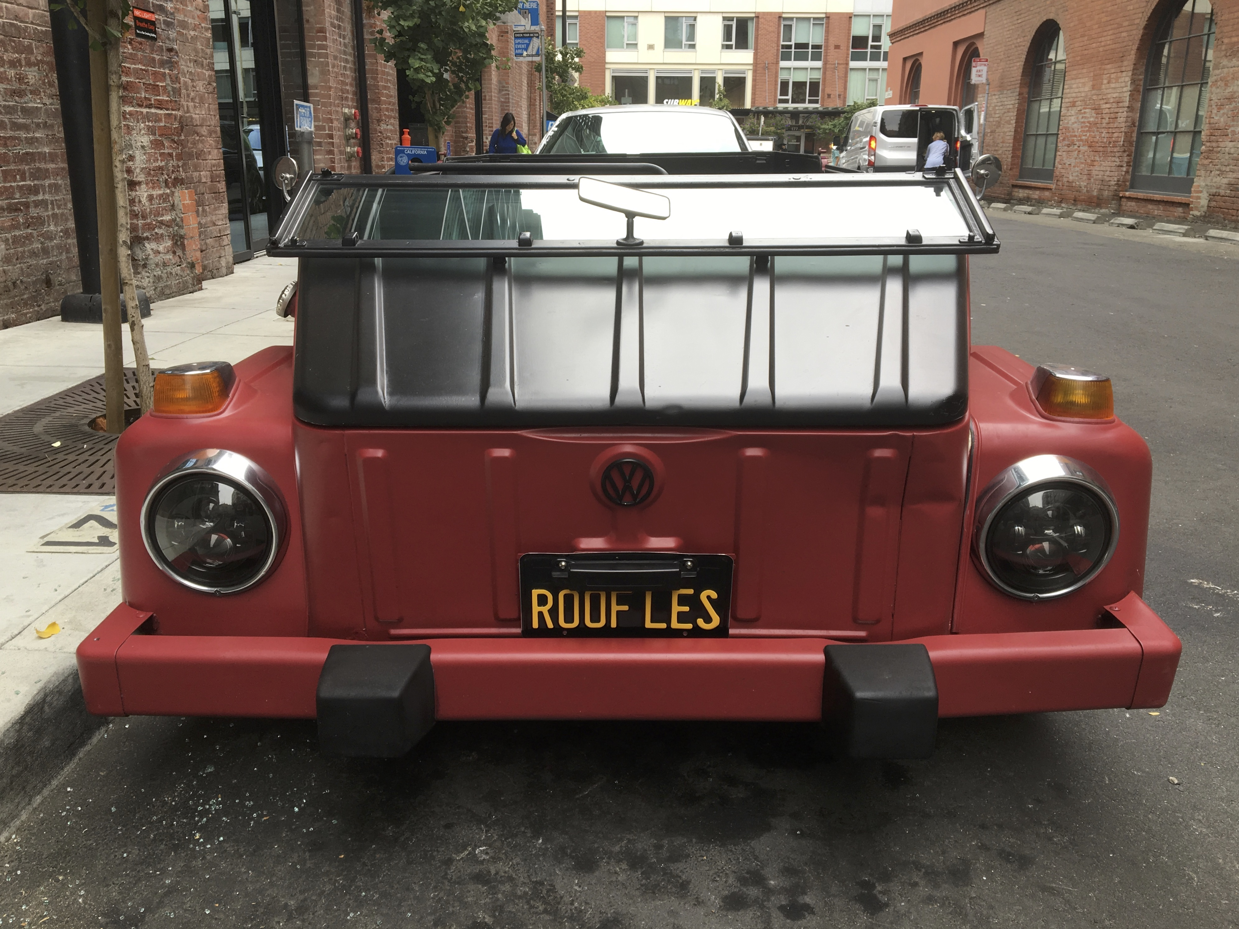 Red Volkswagen Thing With License Plate Roof Les