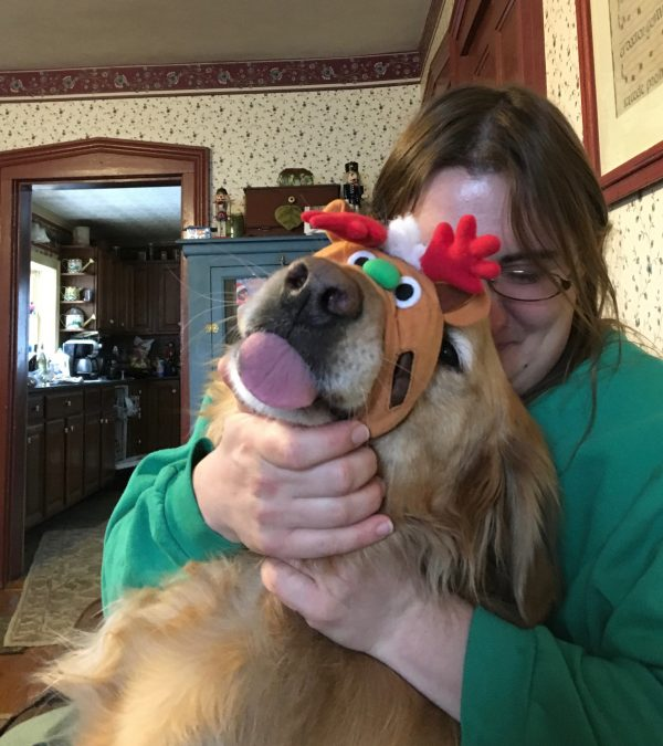 Woman Playing With Golden Retriever