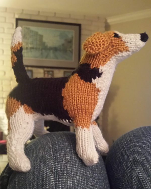 Hand-Knitted Beagle Doll