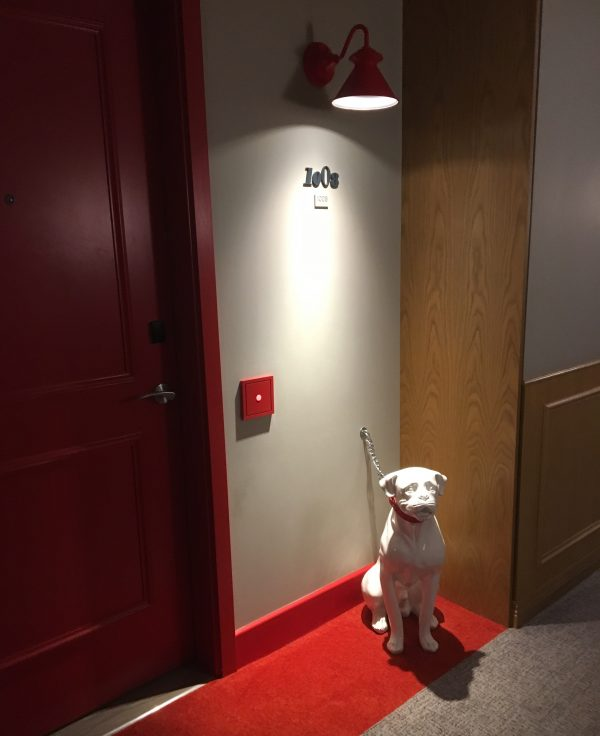 Dog Statue In Hallway Of Virgin Hotel Chicago