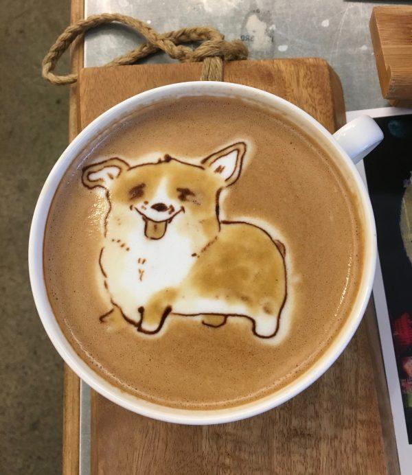 Latte Art Corgi By Melaquino