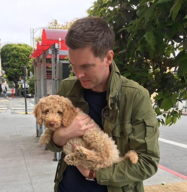 Man Holding Adorable Goldendoodle Puppy