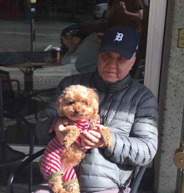 Man With Grumpy Apricot Poodle