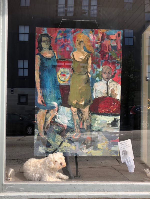 Bichon Frise Sitting In The Window Of An Art Gallery