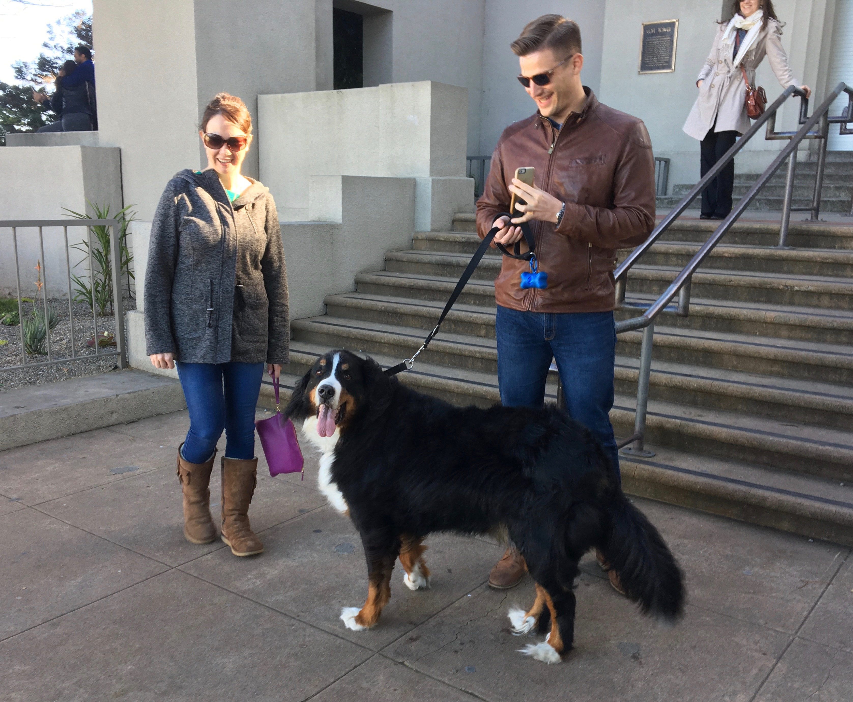 Man And Woman With Bernese Mountain Dog