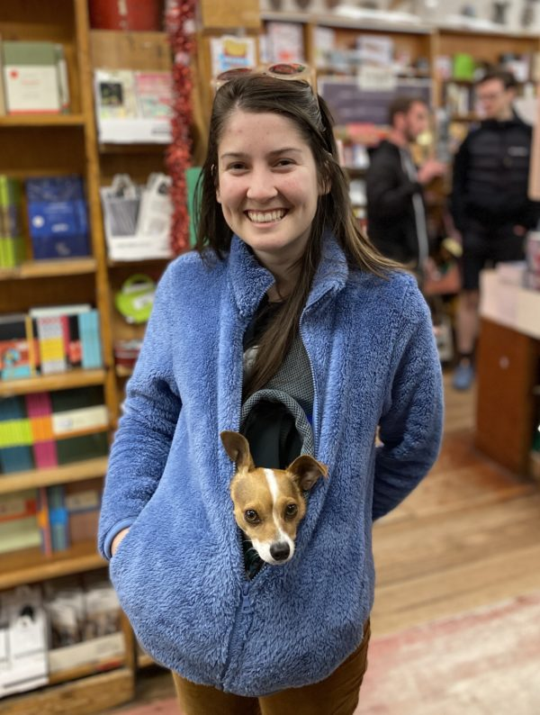 Woman With Italian Greyhound Chihuahua Mix In Her Sweatshirt