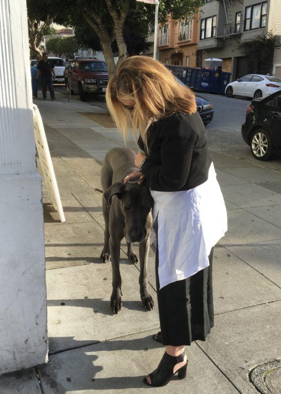Woman Petting Blue Great Dane