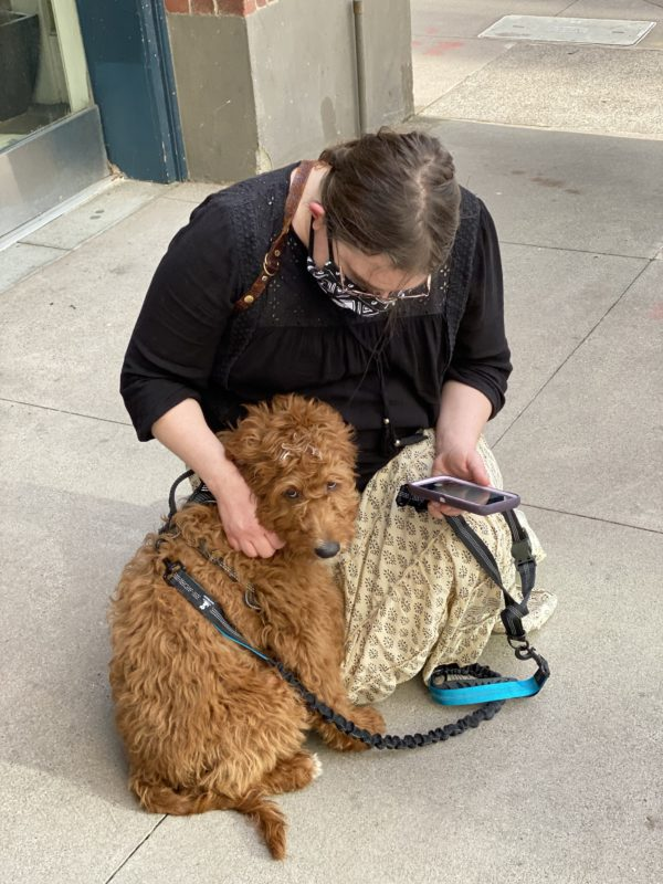 Woman Petting Goldendoodle Puppy