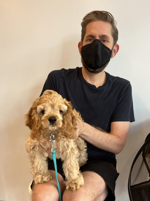 Man Holding Cocker Spaniel Puppy In His Lap